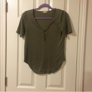 Madewell, dark green short sleeve button top